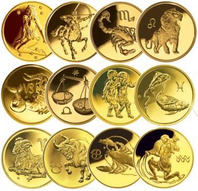 продать Знаки зодиака золотые монеты