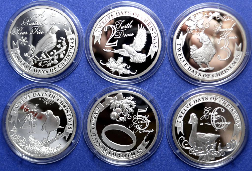 Набор серебряных монет 2 доллара 2009 год 12 дней Рождества