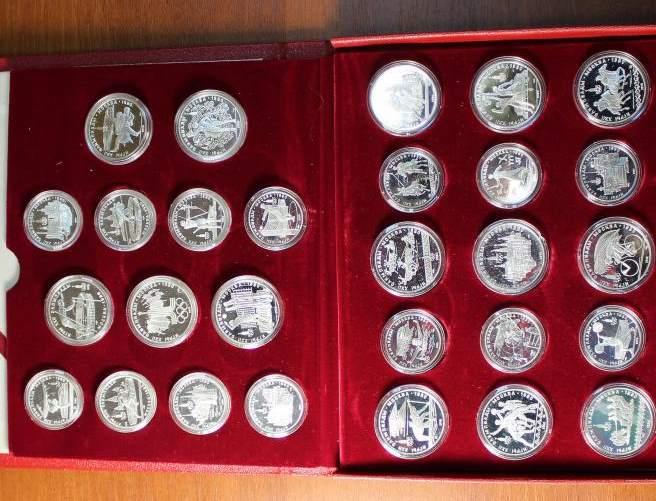 продать Набор юбилейных монет Олимпиада 1980 год. В коробке 5 и 10 рублей 1980 год. 28 шт. ПРУФ
