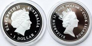 Оборотная сторона серебряных монет Австралии
