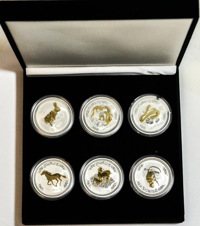 Набор серебряных монет Австралия Лунары в коробке