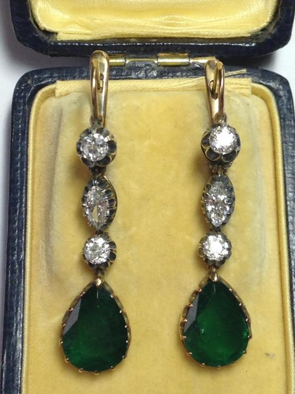 серьги бриллианты изумруды золото 56 пробы
