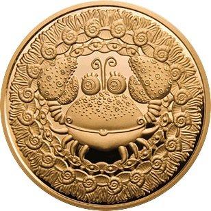 100 рублей 2006 года. Рак. Золотая монета Беларусь.