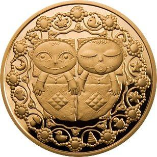 100 рублей 2011 года. Близнецы. Золотая монета Беларусь.
