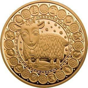100 рублей 2011 года. Козерог. Золотая монета Беларусь.