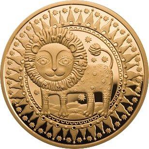 100 рублей 2011 года. Лев. Золотая монета Беларусь.