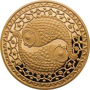 100 рублей 2011 года. Рыбы. Золотая монета Беларусь.